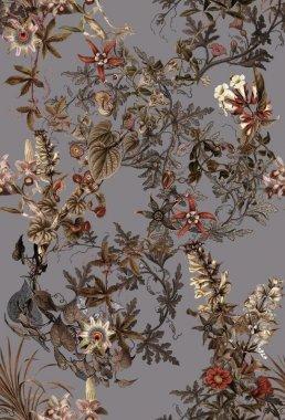 welur-akwarela-kwiaty-ptaki